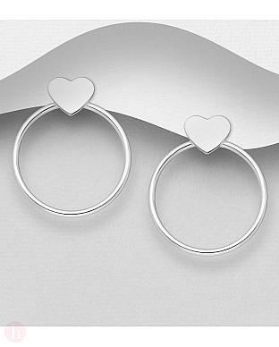 Cercei rotunzi din argint cu inima