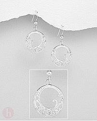 Cercei rotunzi din argint, model celtic cu cristale albe