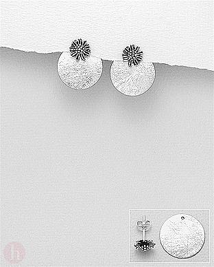 Cercei rotunzi din argint model cerc si floare