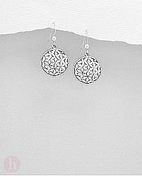 Cercei rotunzi din argint model floarea vietii