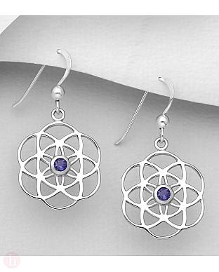 Cercei rotunzi din argint model Flower of Life cu piatra violet