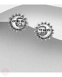 Cercei rotunzi din argint model soare si luna