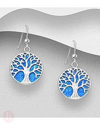 Cercei rotunzi din argint model Tree of Life cu piatra albastra