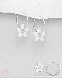 Cercei rotunzi din argint model veriga - creola cu floare