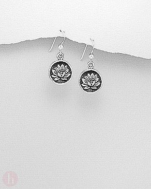 Cercei rotunzi din argint oxidat, model floare de lotus