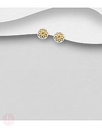 Cercei rotunzi din argint placat cu aur, model floare