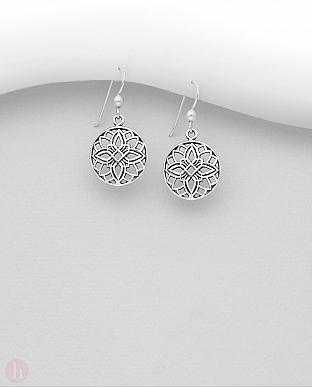 Cercei rotunzi din argint simplu model floral
