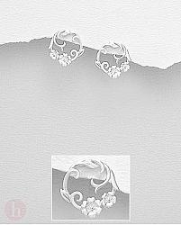 Cercei rotunzi din argint, model veriga cu flori
