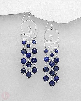 Cercei spirala argint cu lapis lazuli