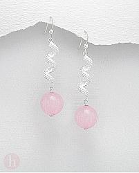 Cercei spirala cu piatra semipretioasa cuart roz