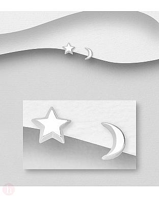 Cercei argint stea si luna