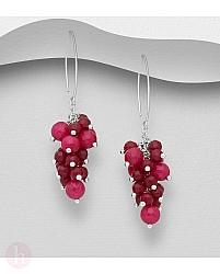 Cercei strugure din argint cu pietre roz
