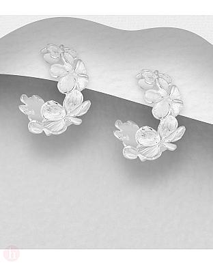 Cercei veriga argint cu flori