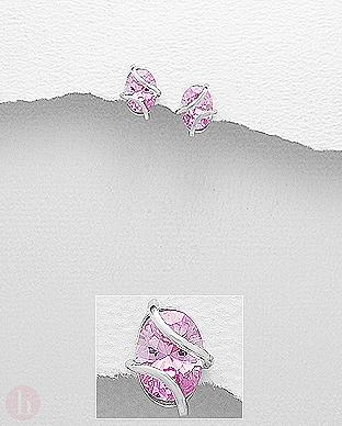 Cercei cu piatra ovala roz