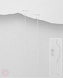Cercei lungi model cu lantisor si cruciulita