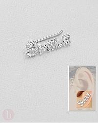 Cercel ear pin din argint cu mesaj SMILE si cristale albe