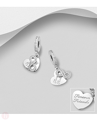 Charm - talisman din argint cu inima, infinit si mesaj