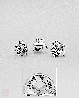 Charm - talisman din argint cu inima, lacat, cheie si mesaj