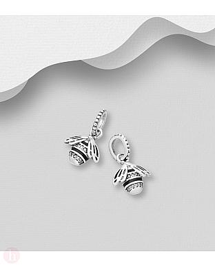 Charm - talisman din argint model albina cu cristale