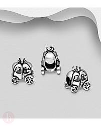 Charm - talisman din argint model caleasca