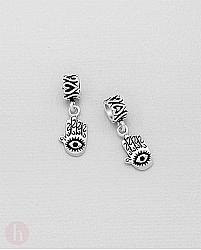 Charm - talisman din argint model Hamsa, ochi si inima