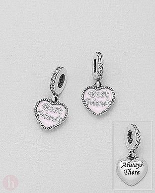 Charm - talisman din argint model inima cu mesaj Best Friends, Always there