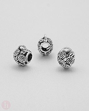 Charm - talisman din argint model inima, flori, frunze, lacat