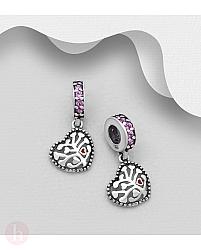 Charm - talisman din argint model inima, pomul vietii si cristale