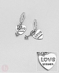 Charm - talisman din argint model inima, sageata si mesaj LOVE STRUCK