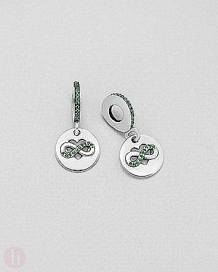Charm - talisman rotund din argint pentru bratara, model inima si infinit cu cristale verzi