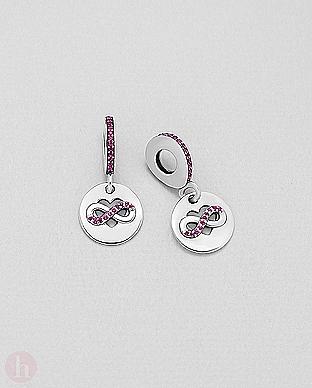 Charm - talisman rotund din argint pentru bratara, model inima si infinit cu cristale rosu rubin