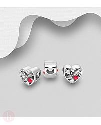 Charm - talisman din argint model inima si sageata