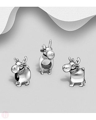 Charm din argint pentru bratara, model ren
