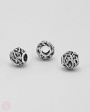 Charm talisman rotund frunze argint