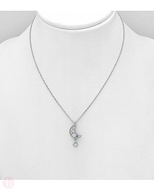 Colier ajustabil din argint, model cu luna, stea si cristale albe