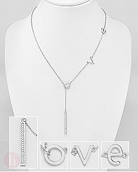 Colier argint cu cristale LOVE