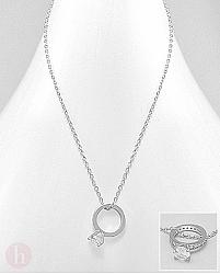Colier argint cu inel logodna cu cristale