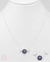 Colier argint cu perle albe si negre