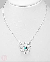 Colier argint model floare de lotus si piatra albastra