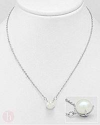 Colier din argint cu perla de cultura alba