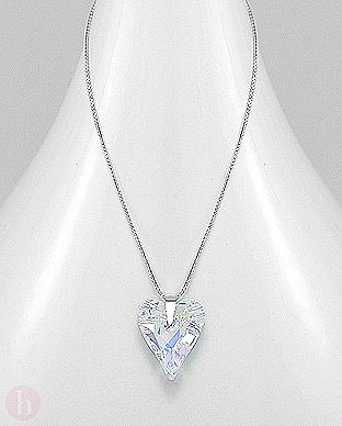 Colier inima cristal Swarovski culoare aurora boreala