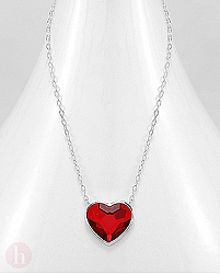 Colier cu cristal Swarovski inima rosie