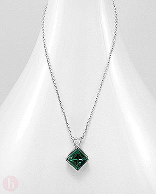 Colier cu cristal Swarovski verde smarald