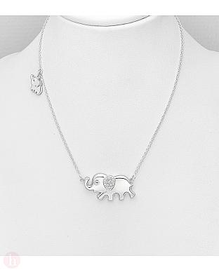 Colier din argint cu elefant si cristal