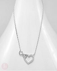 Colier din argint cu inima, infinit si cristale albe