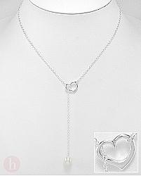 Colier din argint cu inima si perla de cultura alba