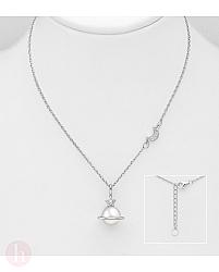 Colier din argint cu luna, stea, Saturn si perla
