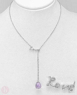 Colier din argint cu mesaj LOVE si piatra violet de ametist