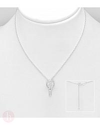 Colier din argint cu pandant racheta de badminton