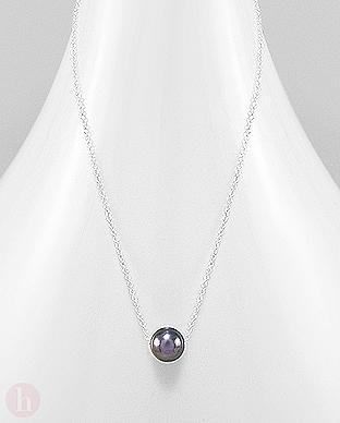 Colier din argint cu perla neagra